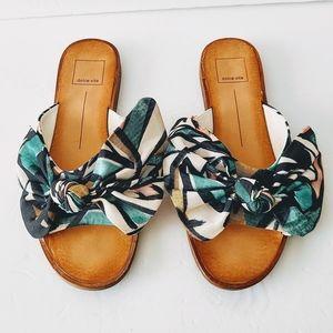 Dolce Vita Parin Printed Canvas Bow Slide Sandals